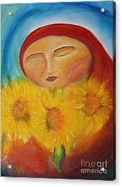 Sunflower Madonna Acrylic Print by Teresa Hutto