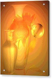 Sunflower Orange With Vases Posterized Acrylic Print by Joyce Dickens