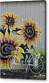 Sunflowers And Bicycle Acrylic Print
