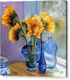 Sunflowers And Blue Bottles Acrylic Print by Marlene Book