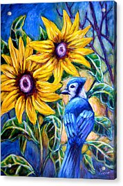 Sunflowers And Blue Jay Acrylic Print