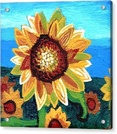 Sunflowers And Blue Sky Acrylic Print by Genevieve Esson