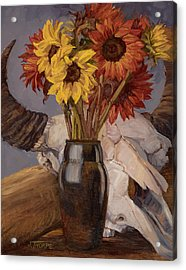 Sunflowers And Buffalo Skull Acrylic Print