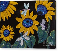 Sunflowers And Dragonflys-painting Acrylic Print by Beverly Livingstone