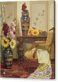 Sunflowers And Hollyhocks Acrylic Print