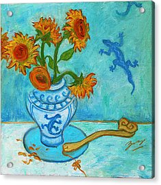 Sunflowers And Lizards Acrylic Print by Xueling Zou
