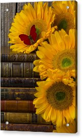 Sunflowers And Old Books Acrylic Print by Garry Gay