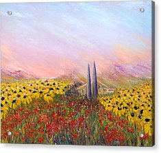 Sunflowers And Poppies Acrylic Print