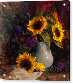 Sunflowers And Porcelain Still Life Acrylic Print