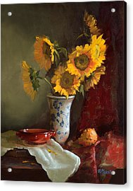 Sunflowers And Red Saucer Acrylic Print