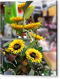 Sunflowers At The Market Florence Italy Acrylic Print