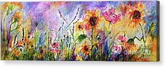 Acrylic Print featuring the painting Sunflowers Bees Pink Poppies Wildflowers by Ginette Callaway