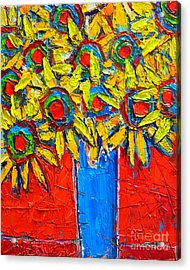 Sunflowers Bouquet In Blue Vase Acrylic Print by Ana Maria Edulescu