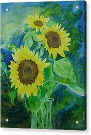 Sunflowers Colorful Sunflower Art Of Original Watercolor Acrylic Print