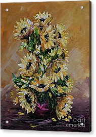 Acrylic Print featuring the painting Sunflowers For You by Teresa Wegrzyn