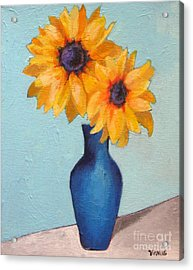 Sunflowers In A Blue Vase Acrylic Print by Venus