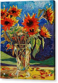 Sunflowers In A Crystal Vase Acrylic Print by Thomas Bertram POOLE