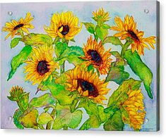 Sunflowers In A Field Acrylic Print