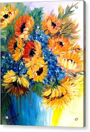 Acrylic Print featuring the painting Sunflowers In A Vase by Dorothy Maier