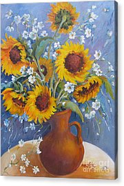 Acrylic Print featuring the painting Sunflowers In Pitcher by Marta Styk