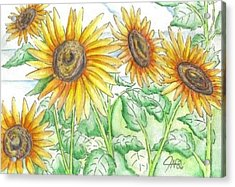 Acrylic Print featuring the painting Sunflowers In The George Garden by The GYPSY And DEBBIE