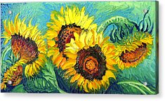 Sunflowers Acrylic Print by Isabelle Gervais
