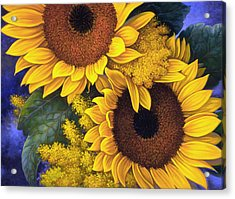 Acrylic Print featuring the painting Sunflowers by Mia Tavonatti