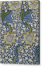 Sunflowers On Blue Pattern Acrylic Print by William Morris