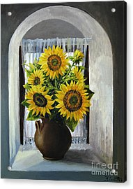 Sunflowers On The Window Acrylic Print by Kiril Stanchev