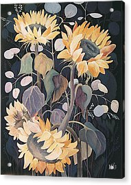 Acrylic Print featuring the painting Sunflowers' Symphony by Marina Gnetetsky