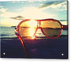 Sunglasses On Beach During Sunset Acrylic Print by Ashley Stone / Eyeem