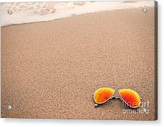 Sunglasses On The Beach Acrylic Print by Sharon Dominick