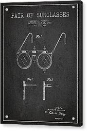 Sunglasses Patent From 1950 - Dark Acrylic Print