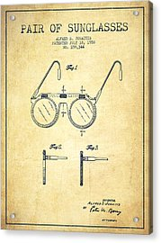Sunglasses Patent From 1950 - Vintage Acrylic Print by Aged Pixel
