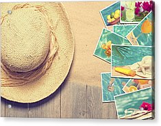 Sunhat And Postcards Acrylic Print by Amanda Elwell