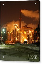 Sunila Pulp Mill By Winter Night Acrylic Print