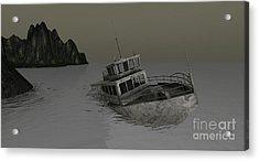Acrylic Print featuring the digital art Sunken Boat by Susanne Baumann