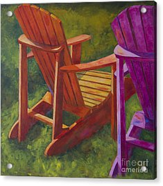 Sunlight On Adirondack Chairs  Acrylic Print by Arthur Witulski
