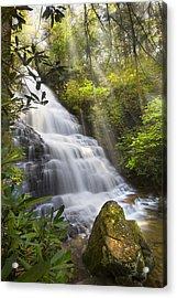 Sunlight On The Falls Acrylic Print by Debra and Dave Vanderlaan