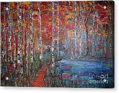 Sunlit Birch Pathway Acrylic Print