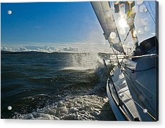 Sunlit Bow Spray Acrylic Print by Gary Eason