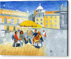 Sunlit Cafe Scene Acrylic Print by Bav Patel