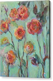 Acrylic Print featuring the painting Sunlit Garden by Mary Wolf