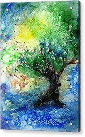 Acrylic Print featuring the painting Sunlit Olive Tree In Skiathos  by Trudi Doyle