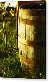 Sunlit Wooden Barrel-three Acrylic Print by David Allen Pierson