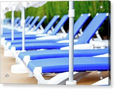Sunloungers In A Row Acrylic Print