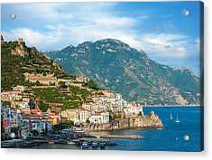 Sunny Amalfi City Acrylic Print