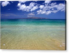 Sunny Blue Beach Makena Maui Hawaii Acrylic Print by Pierre Leclerc Photography