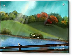 Sunny Meadow By The Water Acrylic Print by Nancy Long