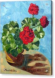 Sunny Spanish Geranium Acrylic Print by Maria Soto Robbins
